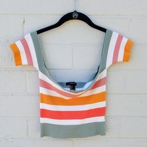 Off the Shoulder Colorful Striped Crop Tee
